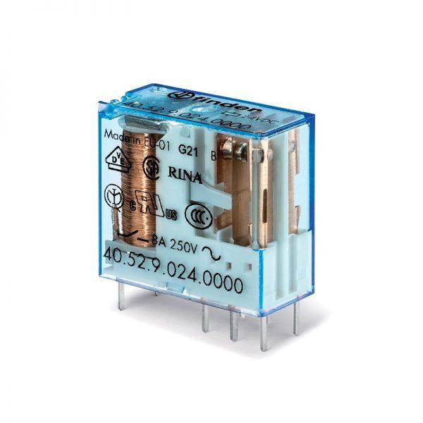 رله 8 پایه 2 کنتاکت 24VDC , 8A کد 40.52.9.024.0000 finder ایتالیا