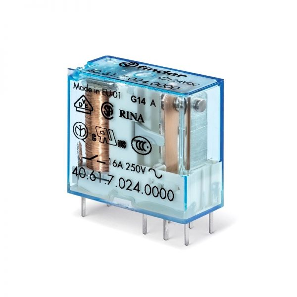 رله 8 پایه 1 کنتاکت 24VDC , 16A کد 40.61.9.024.0000 finder ایتالیا
