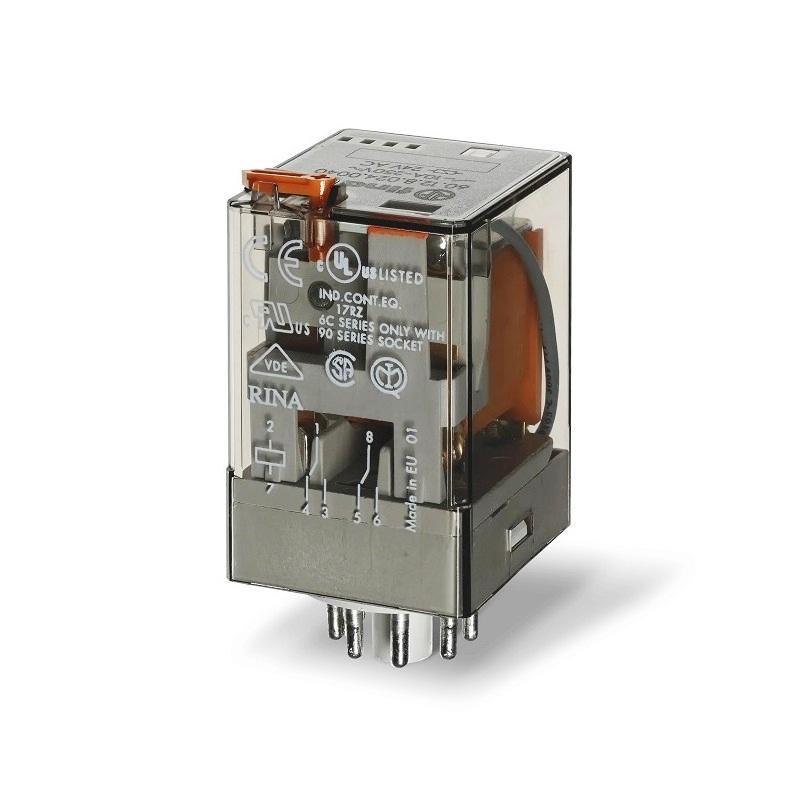 رله ۸ پایه ۲ کنتاکت ۴۰۰VAC , 10A کد ۶۰٫۱۲٫۸٫۴۰۰٫۰۰۴۰ finder ایتالیا