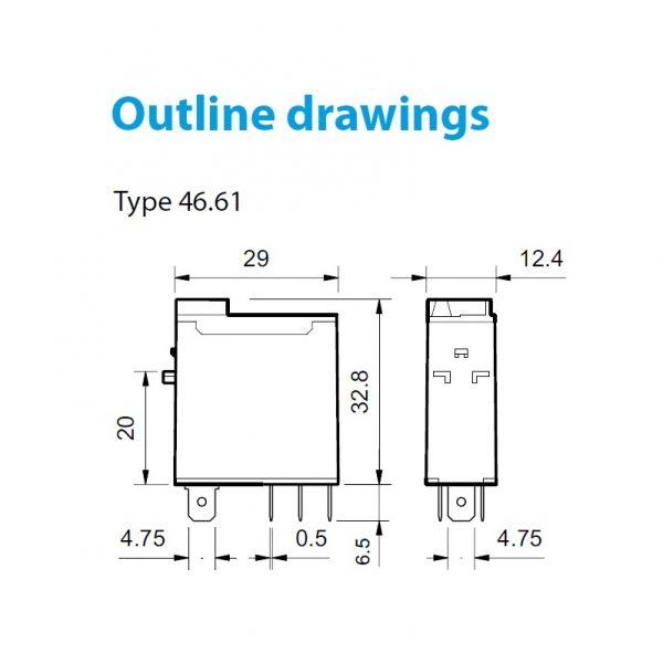 رله 5 پایه 1 کنتاکت 16 آمپر 230VAC کد 46.61.9.012.0074 finder ایتالیا
