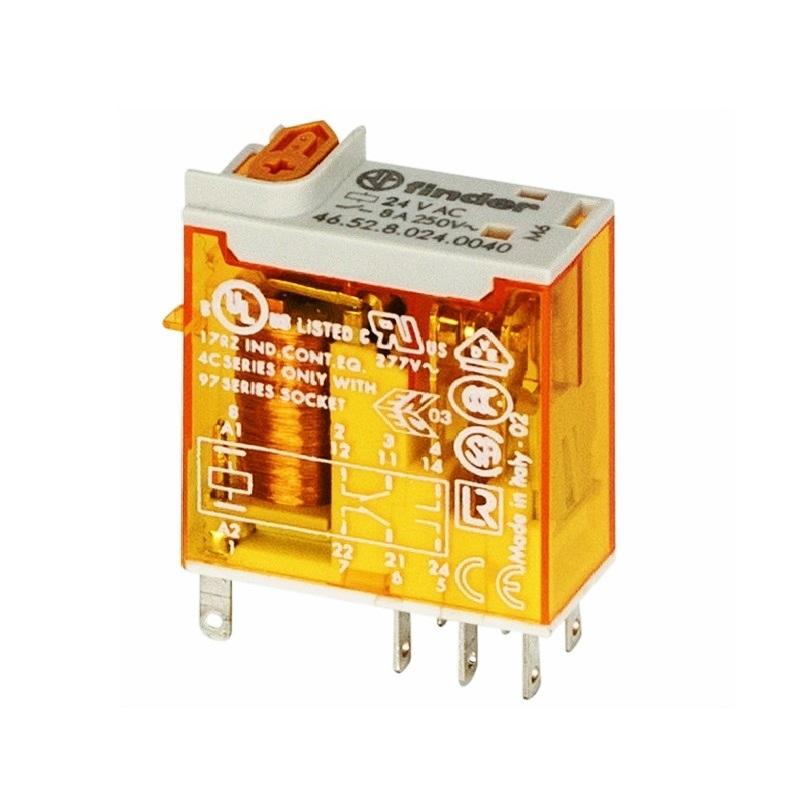 رله ۸ پایه ۲ کنتاکت ۸ آمپر ۱۲VAC کد ۴۶٫۵۲٫۸٫۰۱۲٫۰۰۵۴ finder ایتالیا