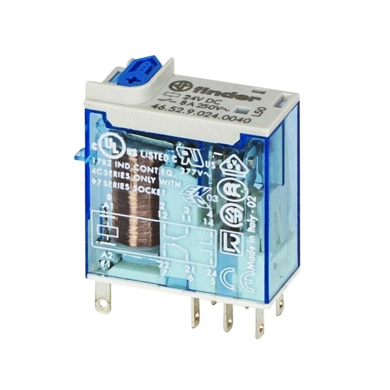 رله ۸ پایه ۲ کنتاکت ۸ آمپر ۲۴VDC کد ۴۶٫۵۲٫۹٫۰۲۴٫۰۰۷۴ finder ایتالیا