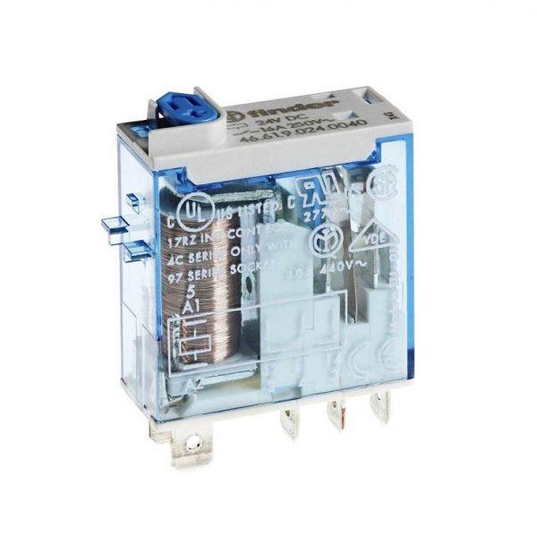 رله 5 پایه 1 کنتاکت 16 آمپر 24VDC کد 46.61.9.024.0074 finder ایتالیا