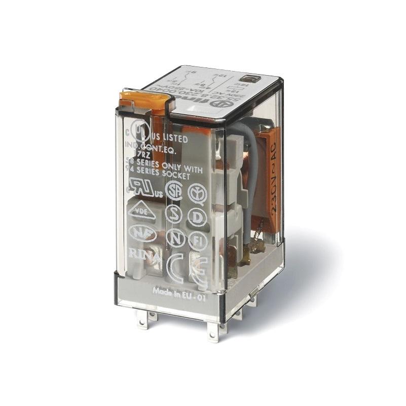 رله ۸ پایه ۲ کنتاکت ۱۲VAC , 10A کد ۵۵٫۳۲٫۸٫۰۱۲٫۰۰۵۴ finder ایتالیا
