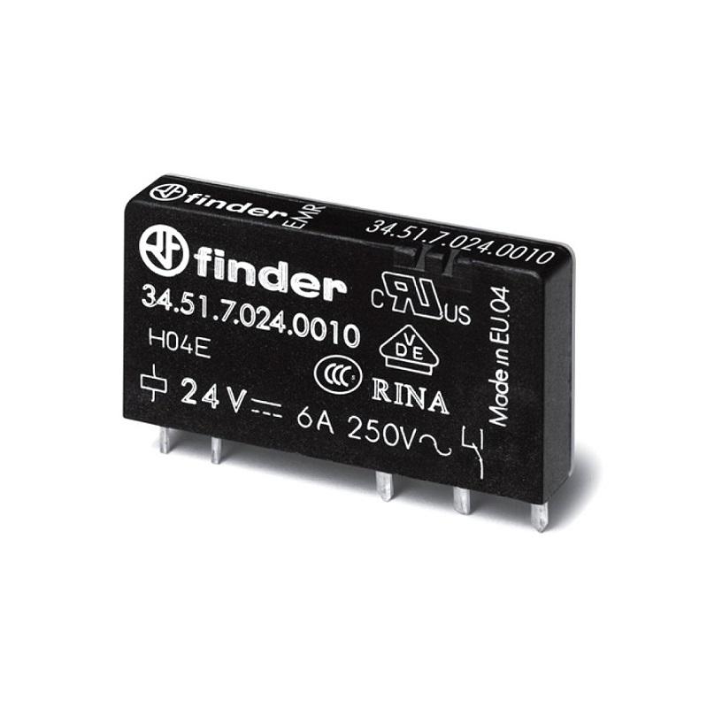 رله پی ال سی ۵ پایه ۱ کنتاکت ۶ آمپر ۲۴VDC کد ۳۴٫۵۱٫۷٫۰۲۴٫۰۰۱۰ finder ایتالیا