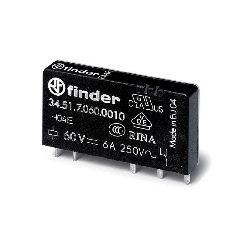 رله پی ال سی ۵ پایه ۱ کنتاکت ۶ آمپر ۶۰VDC کد ۳۴٫۵۱٫۷٫۰۶۰٫۰۰۱۰ finder ایتالیا