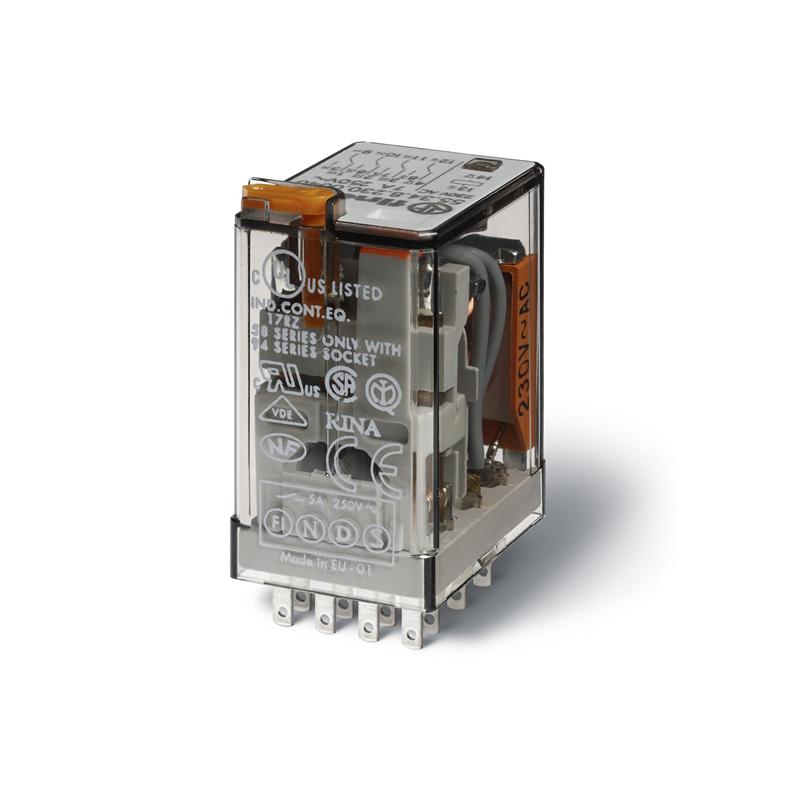 رله ۱۴ پایه ۴ کنتاکت ۲۳۰VAC , 7A کد ۵۵٫۳۴٫۸٫۲۳۰٫۰۰۵۴ finder ایتالیا