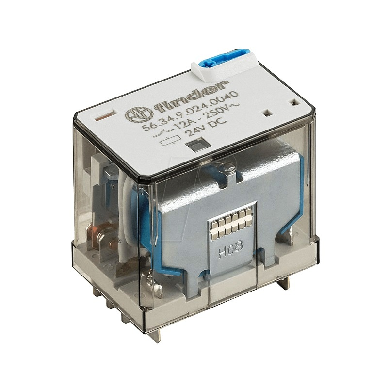 رله ۱۴ پایه ۴ کنتاکت ۲۴VDC , 12A کد ۵۶٫۳۴٫۹٫۰۲۴٫۰۰۴۰ finder ایتالیا